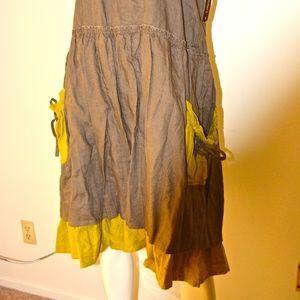 Dresses & Skirts - NEW Two-Tone Knee-Length 100% Linen Midi Skirt